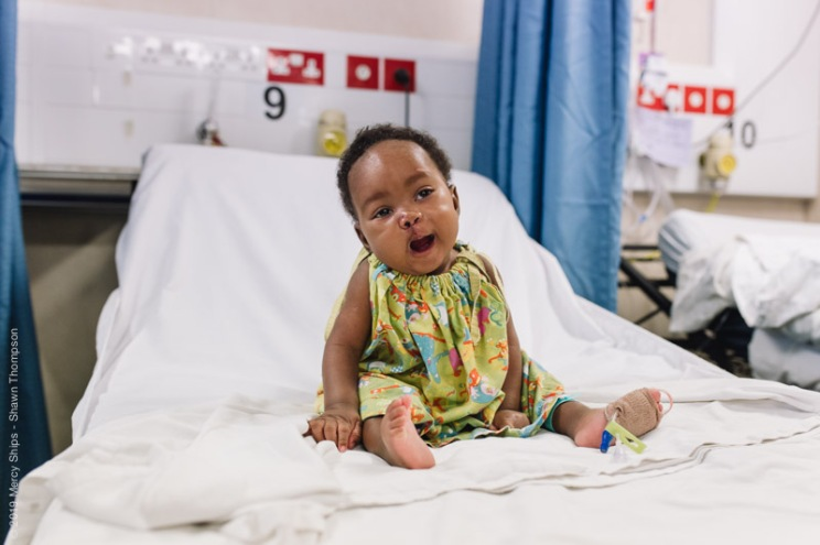 Aissata, cleft lip patient, in the ward after surgery.